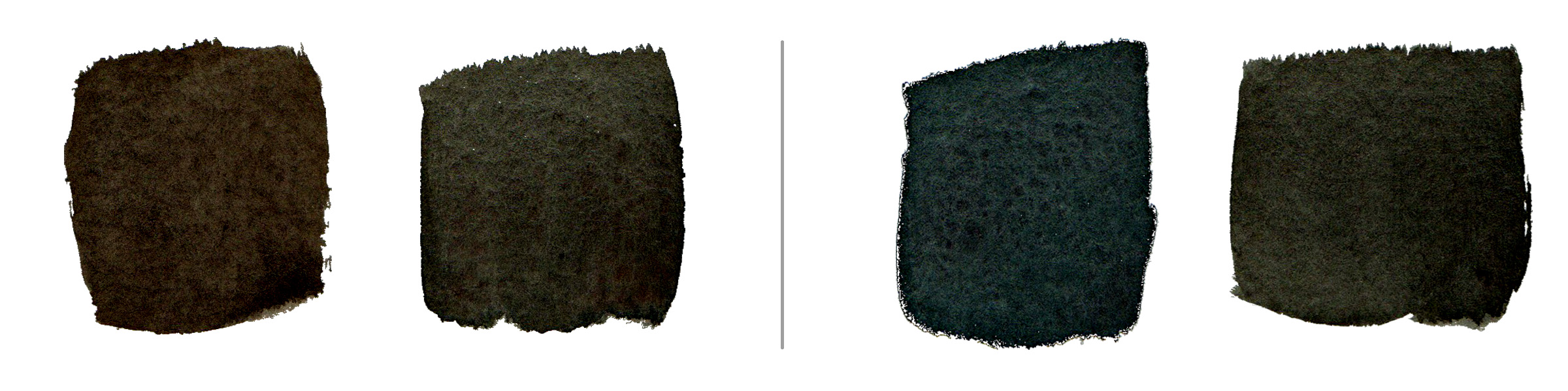 Left:  Phthalo Blue  (PB15) +  Raw Umber  (PBr7); Right:  Prussian Blue  (PB27) + Raw Umber