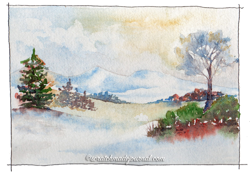 Clear, crisp, and light, Winsor & Newton watercolors are a traditional favorite.Colors used: Cobalt Blue (PB28);Yellow Ochre (PY43); Winsor Green Yellow Shade (PG36);Perylene Maroon (PR179)