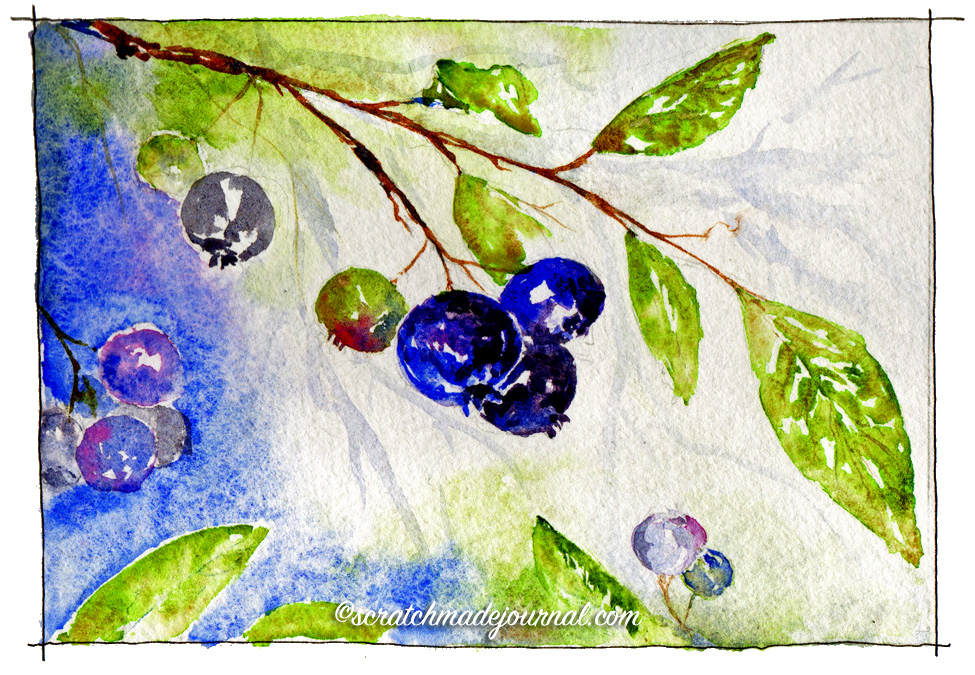 Daniel Smith watercolors are pretty much the most exciting watercolors I've ever used, yet they can be a bit too exciting for beginners. Colors used: French Ultramarine Blue (PB29); Quinacridone Rose (PV19); Goethite (PY43);Serpentine Genuine