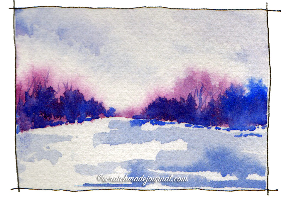 This quick watercolor sketch is a perfect marriage of two favorite brands.Colors used: M. Graham Ultramarine Blue (PB29) & Daniel Smith Quinacridone Rose (PV19)