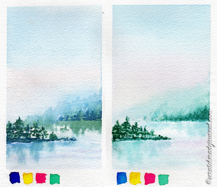 The only difference in these two landscape sketches is the painting on the left contains Phthalo blue red shade, and the painting on the right contains Phthalo blue green shade. Other colors used are Hansa yellow (PY97), Quinacridone rose (PV19), and Phthalo green (PG7).