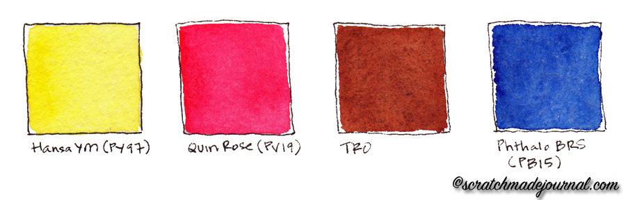 Recommended colors for a 4-color watercolor palette - scratchmadejournal.com