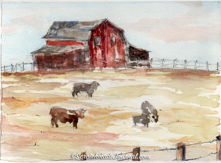 Another barn sketching failure: when learning a new skill, don't be afraid to fail! - scratchmadejournal.com
