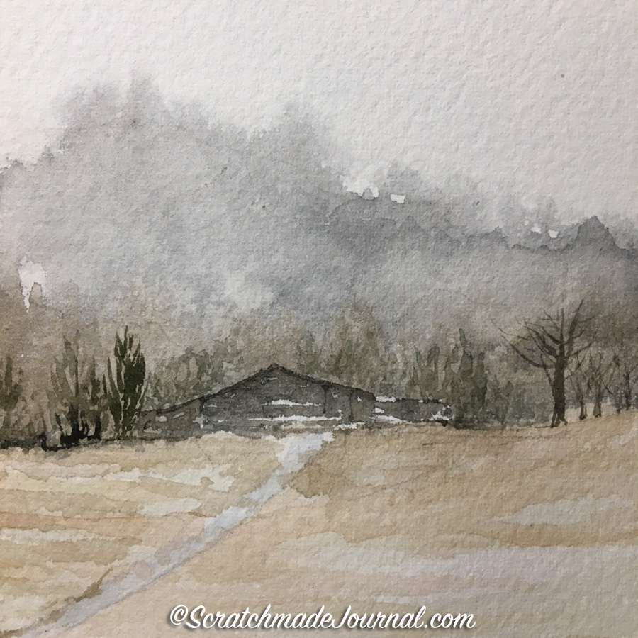 A post sharing my successes (and failures!) at watercolor painting & sketching barns - scratchmadejournal.com
