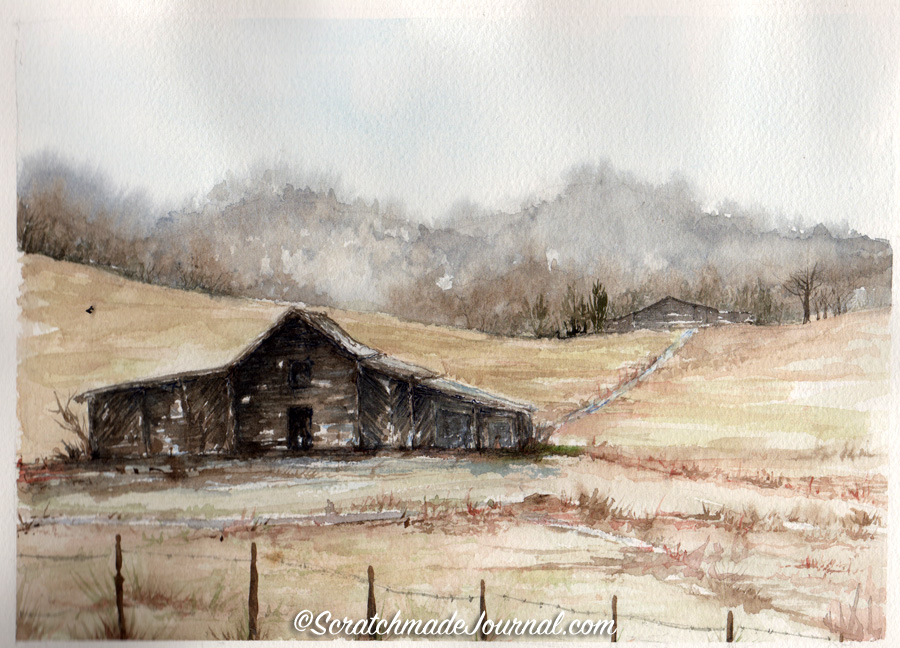Barn in field with fence watercolor sketch ©scratchmadejournal.jpg