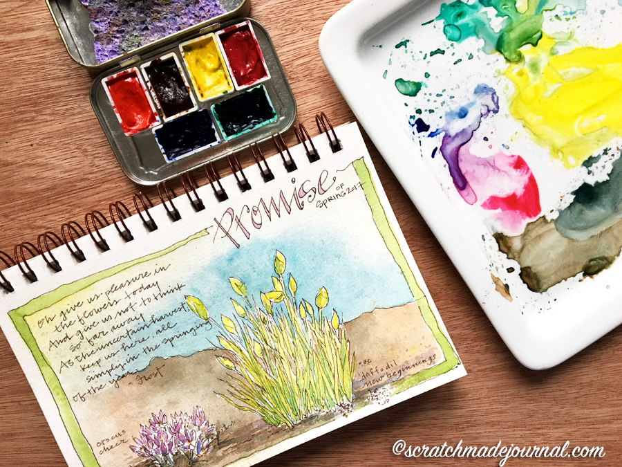 6-color watercolor palette that's perfect for sketching & nature journaling - scratchmadejournal.com