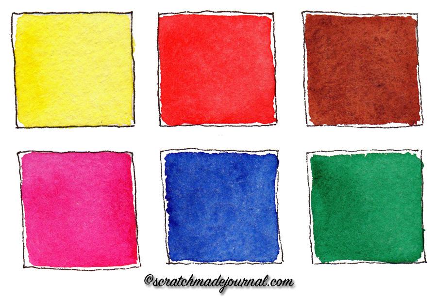 6-color watercolor palette options that are single pigment & excellent for mixing a massive range of colors - scratchmadejournal.com
