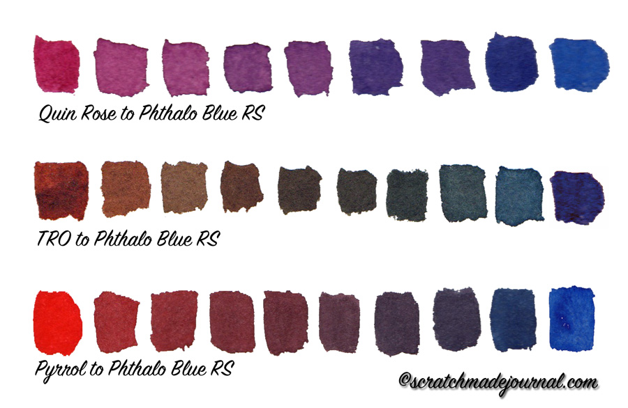Example of range of mixes using the 6-color watercolor palette - scratchmadejournal.com