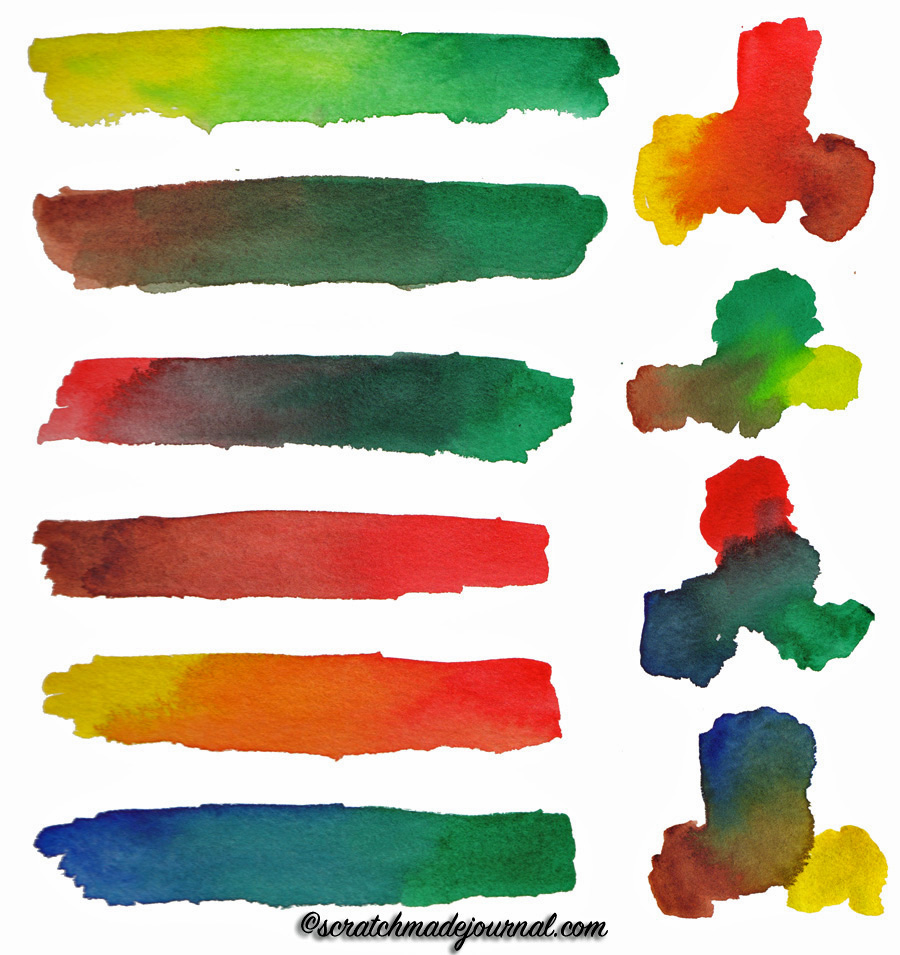 Ideas for possible mixes using the 6-color watercolor palette - scratchmadejournal.com