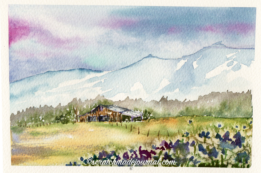 Phthalo blue, phthalo green & quin rose sky and mountains, plus tips for using staining watercolors - scratchmadejournal.com