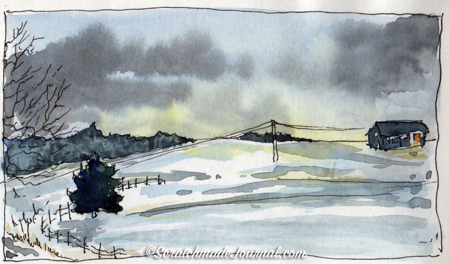 An early morning 5-minute landscape in the Bee Paper Super Deluxe sketchbook.
