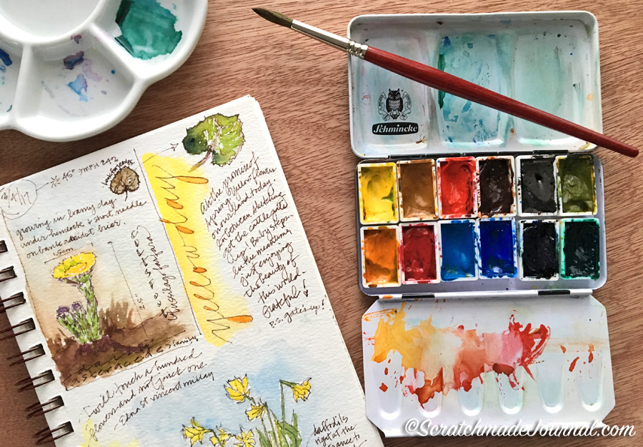 12-color watercolor palette great for nature journaling plus a mixing chart - scratchmadejournal.com