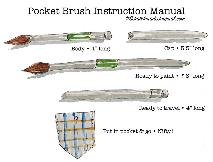 Pocket brush instruction manual plus the best travel brushes for watercolor - ScratchmadeJournal.com
