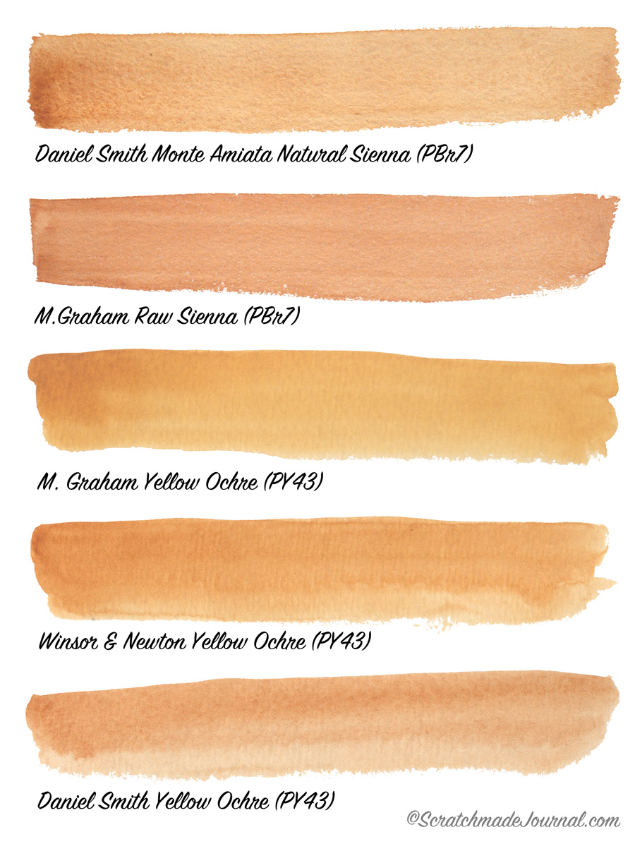 Earth tone yellow watercolor swatches featuring Daniel Smith, M Graham and more - scratchmadejournal.com
