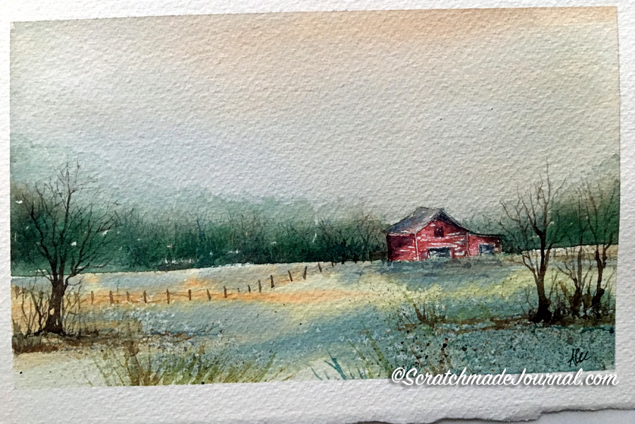 A common pastoral watercolor landscape using my 12-color palette including M Graham's Raw Sienna - scratchmadejournal.com