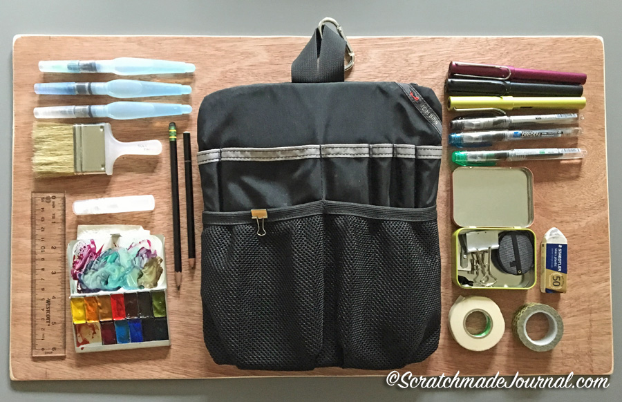 My Tom Bihn Field Sketching Kit: Art supplies that I carry in my portable sketching pack - ScratchmadeJournal.com