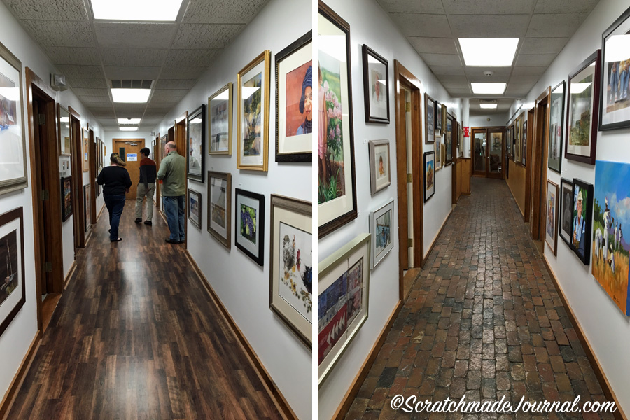 Much of the artwork lining the massive gallery halls inside Cheap Joe's corporate headquarters is inscribed with love to Joe. On the left, Joe's granddaughter, Meghann, walks down the hallway while Joe's son, Joseph, stands in an office doorway. Truly a family run business!