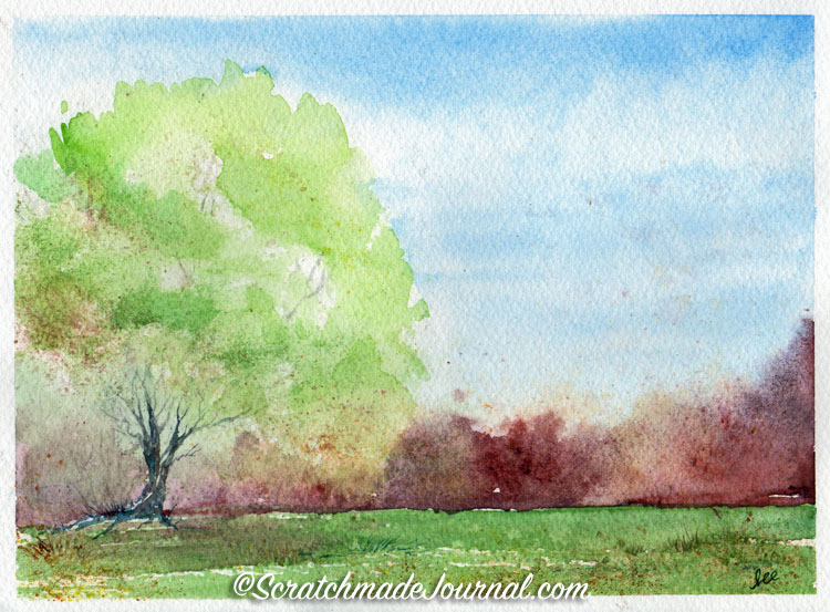 Sketching and painting trees with pen, pencil and/or watercolor - ScratchmadeJournal.com