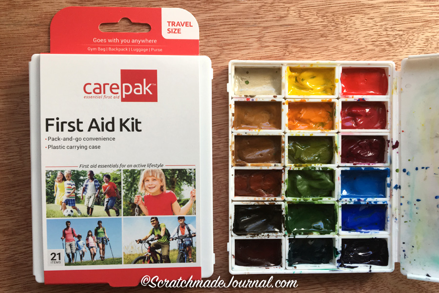 DIY watercolor palette using a dollar store first aid kit - ScratchmadeJournal.com