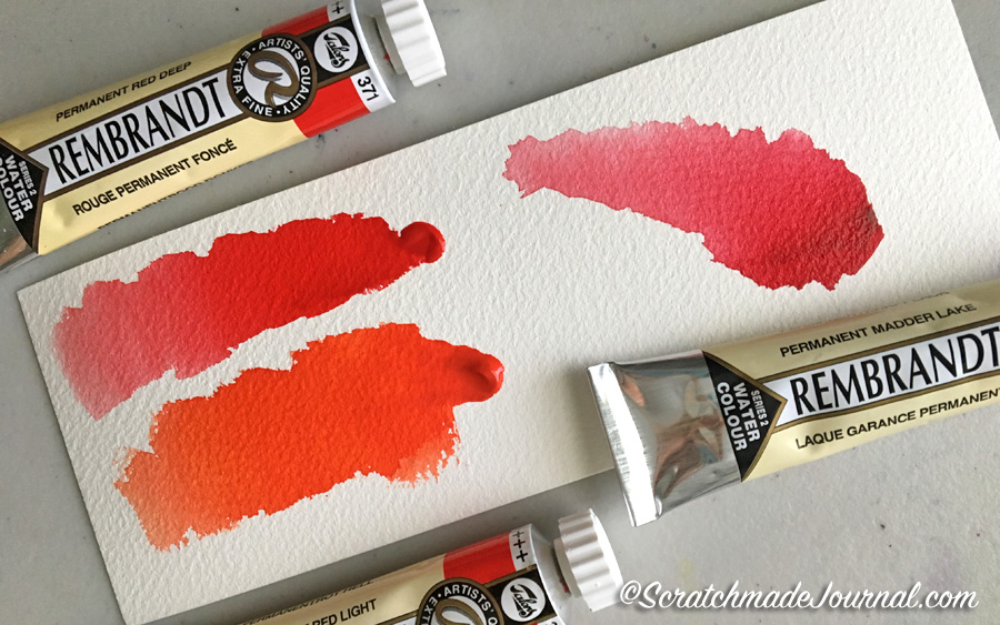 Initial swatches of Rembrandt Watercolors plus a complete review - ScratchmadeJournal.com