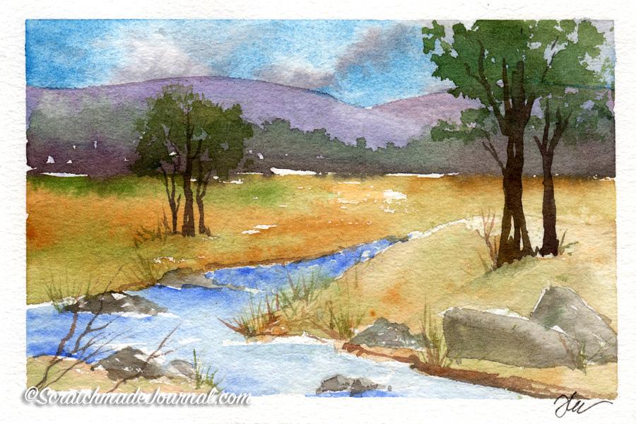 Testing Rembrandt watercolors with summer landscape - ScratchmadeJournal.com