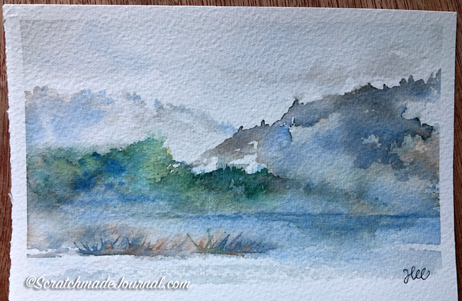 Testing Rembrandt watercolors with a misty mountain landscape & complete review - ScratchmadeJournal.com