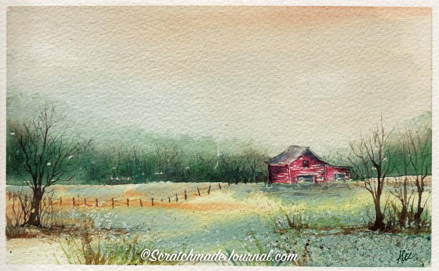 Watercolor autumn farm scene with barn - ScratchmadeJournal.com