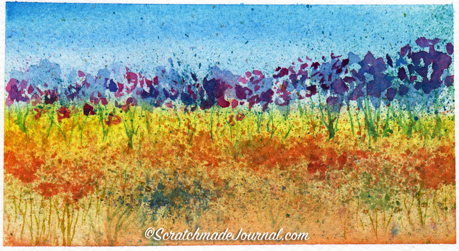 Watercolor field of flowers using salt painting - ScratchmadeJournal.com