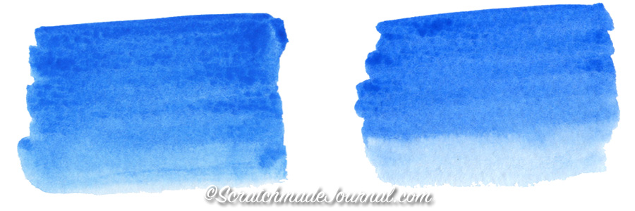 Examples of a good & bad watercolor wash plus how to test and find a good brush - ScratchmadeJournal.com