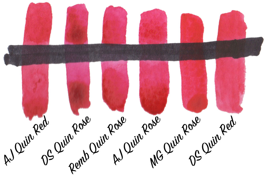 Testing brands of Quinacridone Rose & Red (PV19) for transparency - ScratchmadeJournal.com