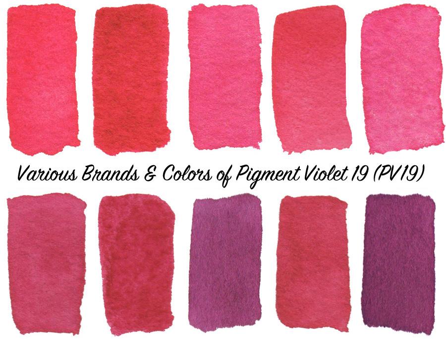 Comparing brands & colors of Pigment Violet 19 (PV19) watercolors - ScratchmadeJournal.com