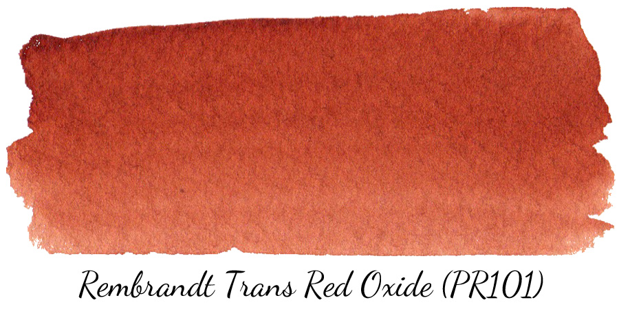 Rembrandt Transparent Red Oxide (PR101) watercolor swatch - ScratchmadeJournal.com