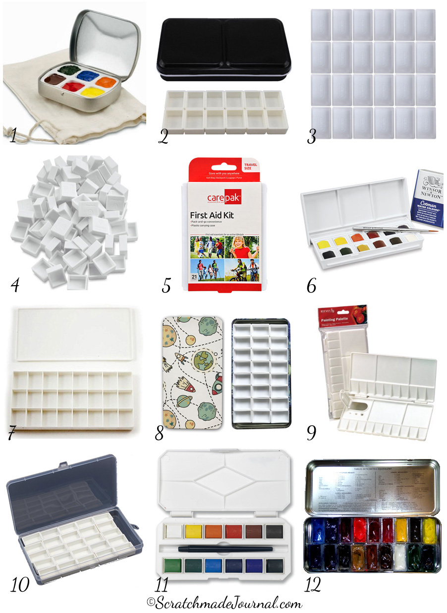 12 ideas for affordable & portable watercolor palettes - ScratchmadeJournal.com
