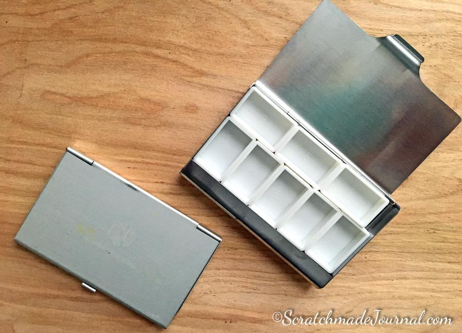 Business card case watercolor palette hack - ScratchmadeJournal.com