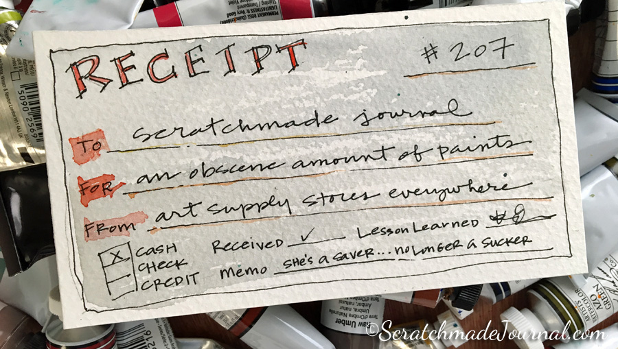 Watercolor paint receipt & tips for saving money on paints - ScratchmadeJournal.com