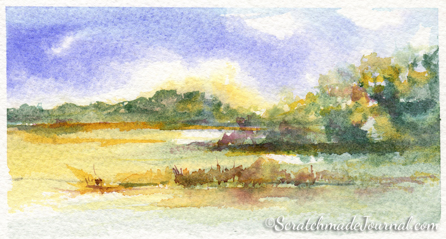 Landscape completed with QoR watercolors - ScratchmadeJournal.com
