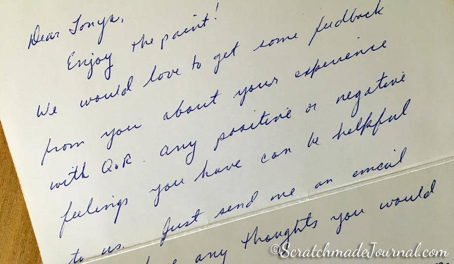 QoR watercolor customer service letter - ScratchmadeJournal.com