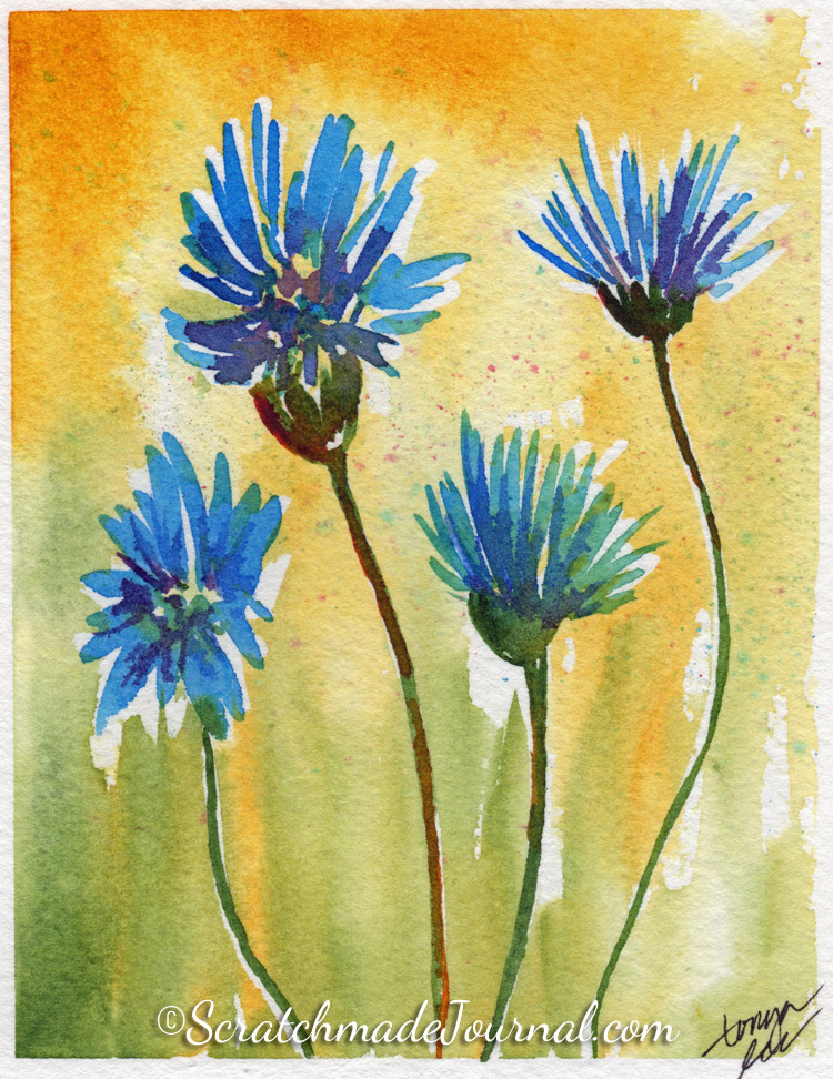 Bold and bright blue watercolor flowers - ScratchmadeJournal.com