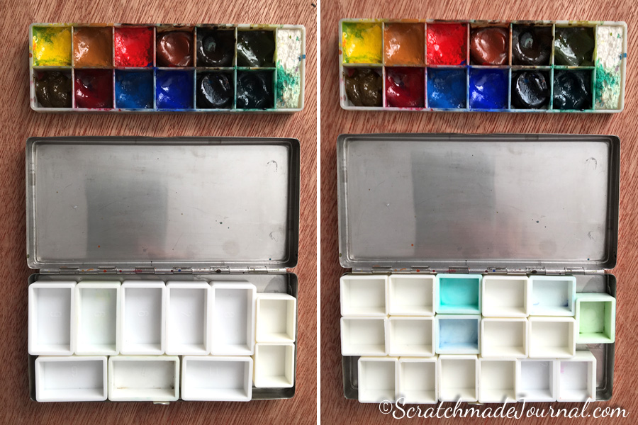 Cheap Joe's watercolor travel tin refitted with full and half pans - ScratchmadeJournal.com
