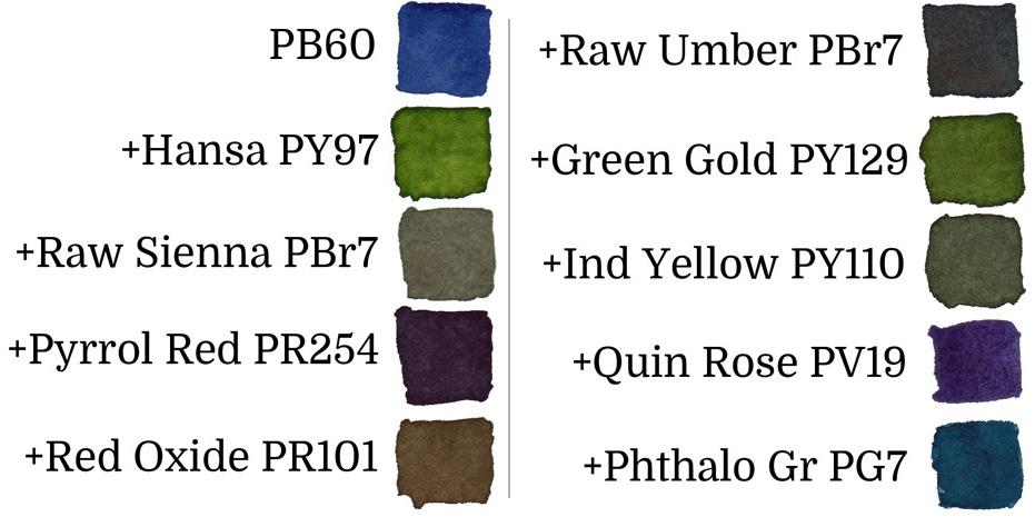 Indanthrone Blue PB60 Watercolor Mixes - ScratchmadeJournal.com