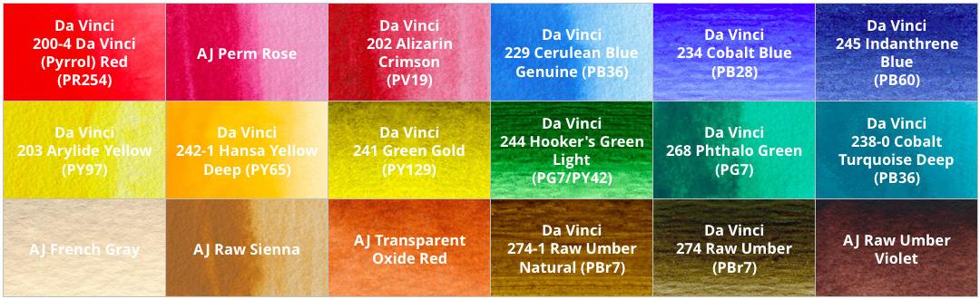 18-color watercolor palette using Da Vinci & American Journey paints - ScratchmadeJournal.com
