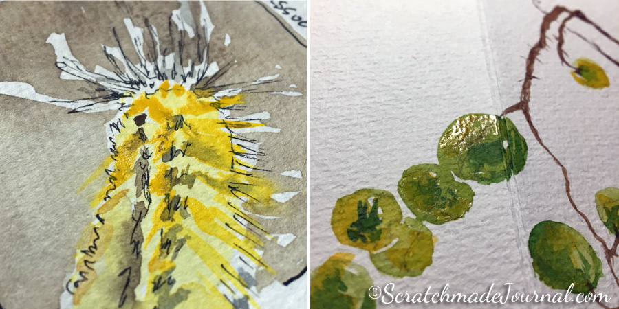 Slight shine caused by gum arabic in Da Vinci's Arylide Yellow, and yes, the paints are dry.