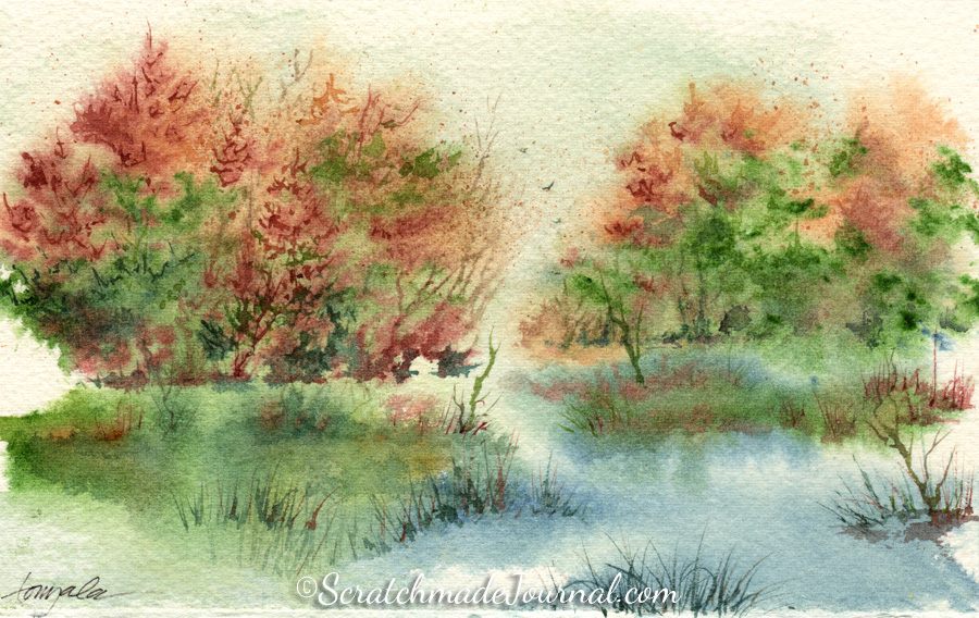 Autumn watercolor landscape with birds and pond - ScratchmadeJournal.com