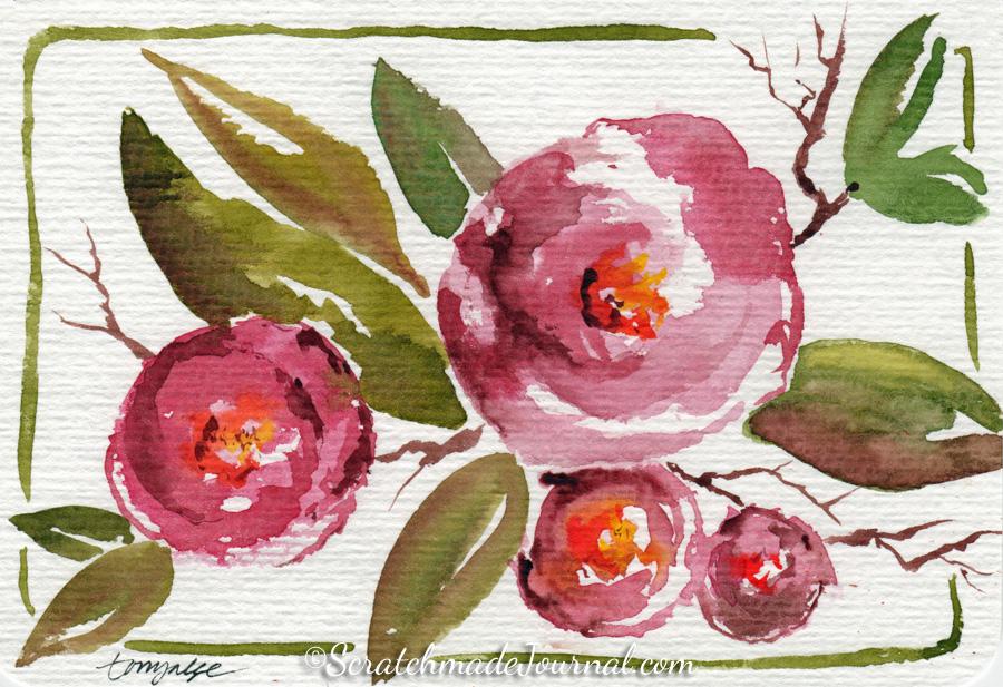 Watercolor roses sketch postcard - ScratchmadeJournal.com