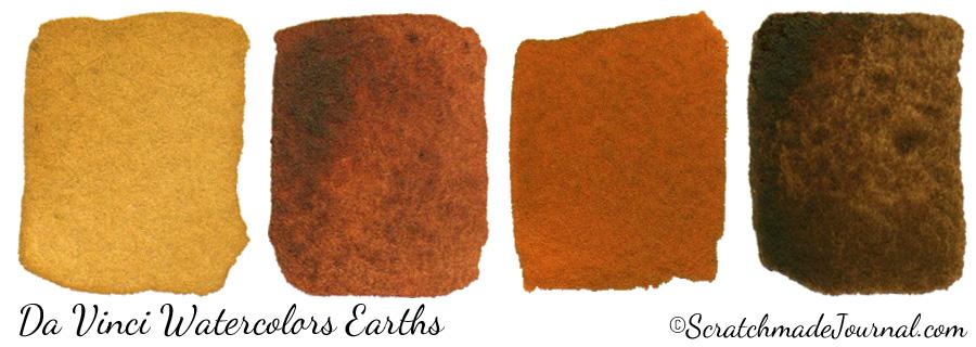 Da Vinci Watercolors Earth Tones: Yellow ochre, Burnt Sienna, Terra Cotta & Burnt Umber - ScratchmadeJournal.com