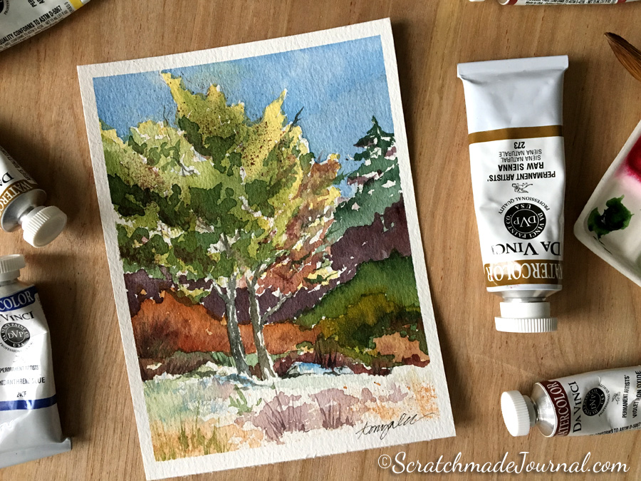 Autumn tree landscape scene in watercolor - ScratchmadeJournal.com