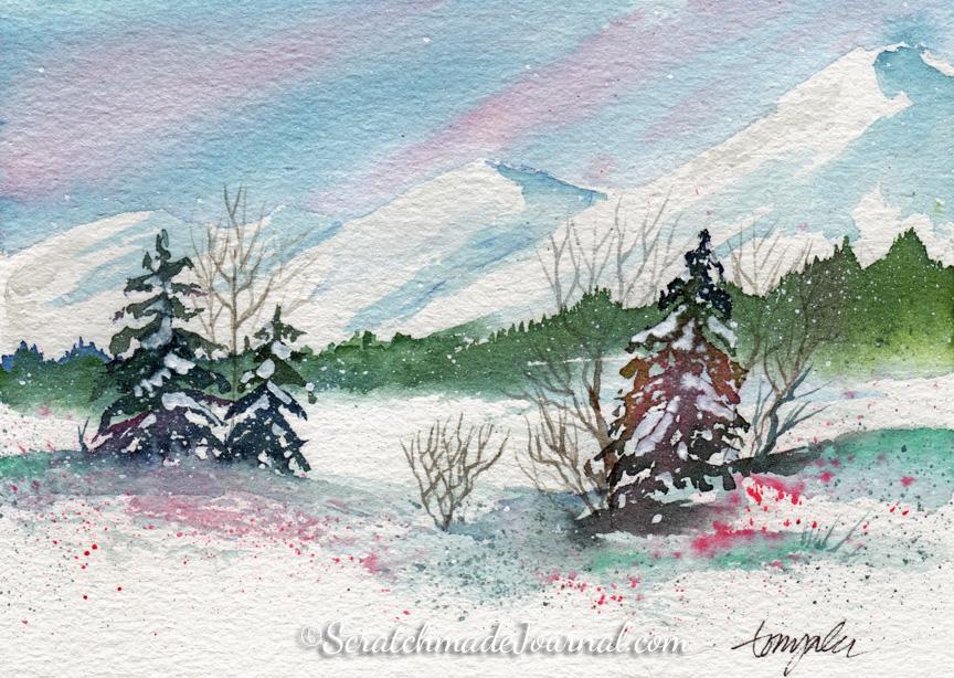 Snowy winter watercolor landscape - ScratchmadeJournal.com