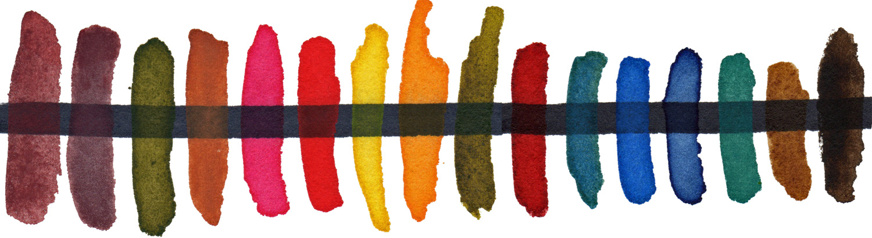 From left: Indian Red, Violet Oxide, Hooker's Light, Raw Sienna, Permanent Rose, DV Red, Arylide Yellow, Hansa Deep, Green Gold, Alizarin Crimson, Cerulean Genuine, Cobalt, Indanthrene, Cobalt Turquoise Deep, Natural Raw Umber, Raw Umber.