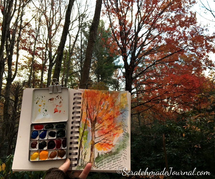 Fall autumn tree watercolor nature sketch - ScratchmadeJournal.com