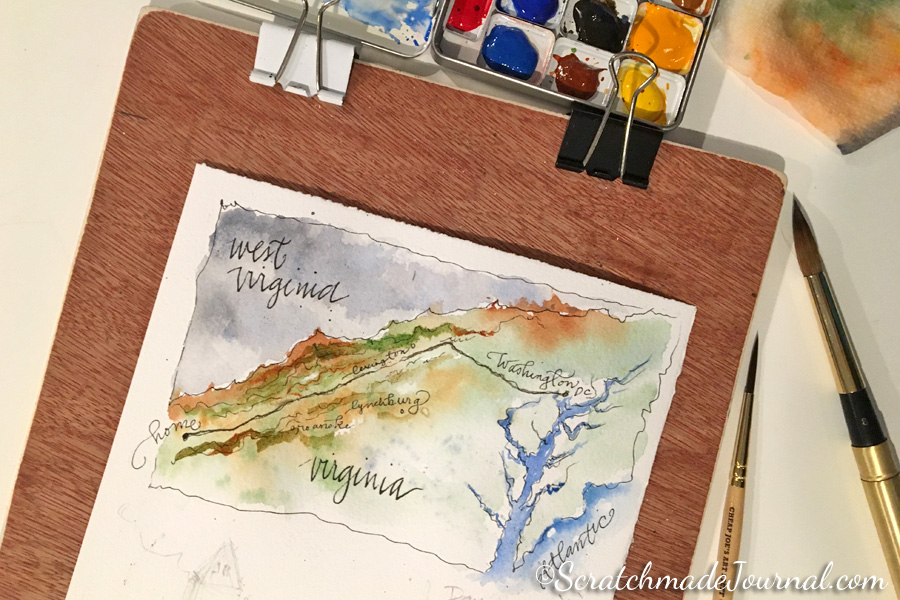 Beginning my D.C. travel journal our first night of arrival. Real watercolor paper makes A+ washes!